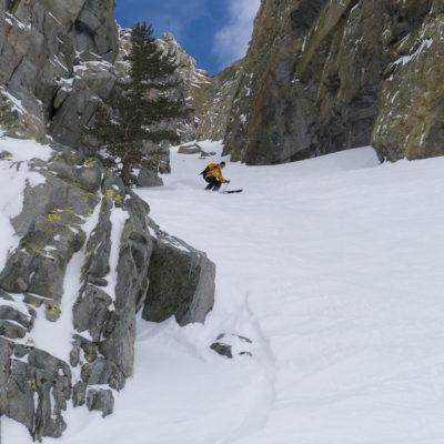 Couloir skiing on the Hemlock Ridge.
