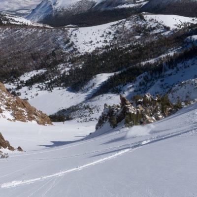Skiing the Negatives, June Mountain below