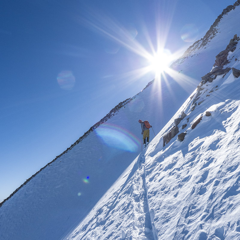 Steep skinning on Tioga East Peak