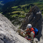 Topping out on the 3rd Sella Tower, Vinatzer Route.