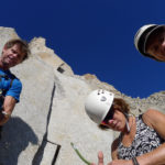 Croft and the Grants get ready for an anniversary climb on the 3rd Pillar of Dana.