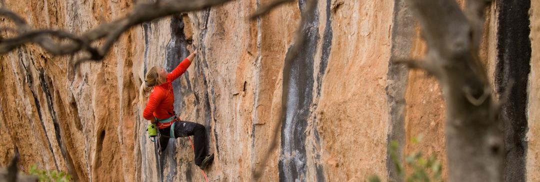 "Hazel Finlay climbing on ""Dive Master"" 7b, Tamdarote, Morocco"