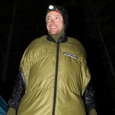 IFMGA guide Jed Porter lives in his sleeping bag on the Evo Loop.