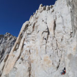 IFMGA guide, Neil Satterfield, shows how it is done on the Fresh Air Traverse, East Face Mt. Whitney