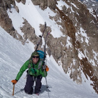 Jenna Murano in the Red Slate Couloir, Red Slate Mountain