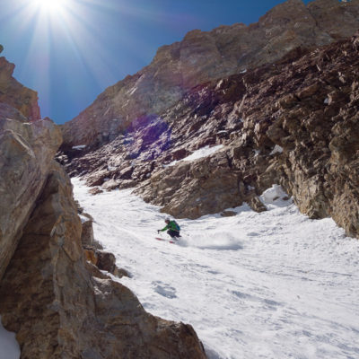 Skiing the iconic Red Slate Mountain