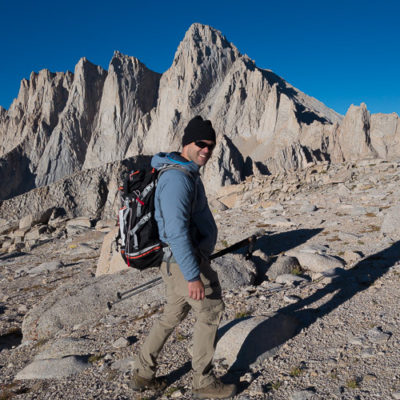 Nearing the Russell-Carillon  Col on the way to Mt. Russell's East Ridge, Mt. Whitney behind.