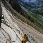 Climbing in tBishop Creek with the Evolution Ridge behind