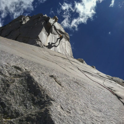 Spectacular rappel off of Cardinal Pinnacle