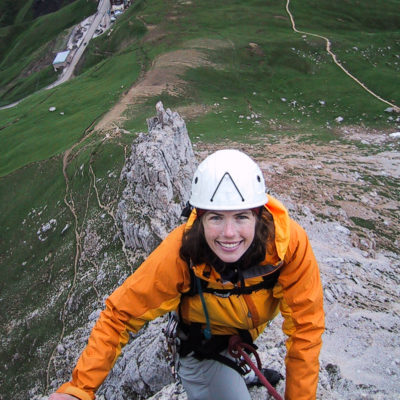 Karen S. climbs on the 1st Sella Tower
