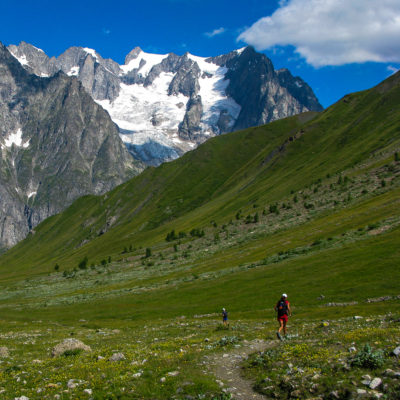 Running the Tour du Mont Blanc. Italian Val Ferret.