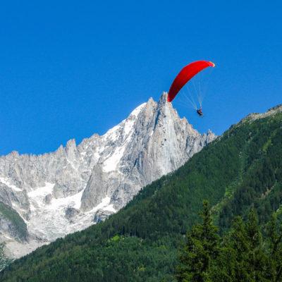 Paraglider over Chamonix Valley