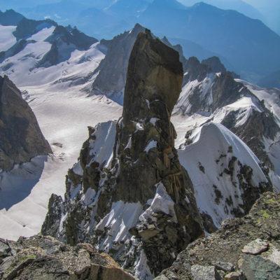 High on the Arête Kuffner, Mount Maudit