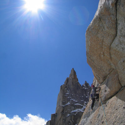 Jon Walsh climbs the impeccable stone of the Grand Capucin.