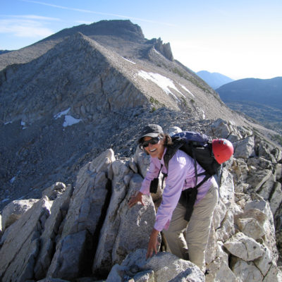 Frances C. cruising the North Ridge of Mt. Conness