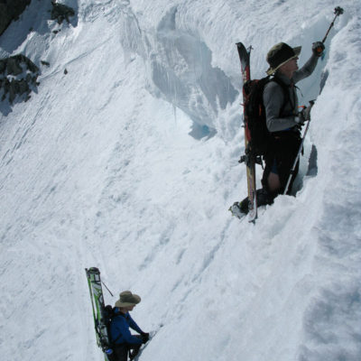 Ski mountaineering section on Solstice Couloir, Mount Dana