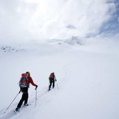 Touring up from the Branca Hut. photo: Lesley Allen Photo