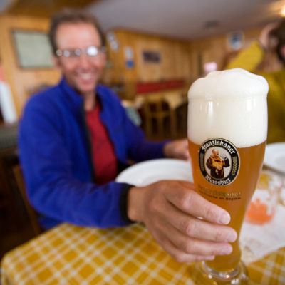 Ray enjoys a Weissbier photo: Lesley Allen Photo