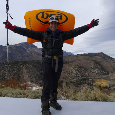 Howie inflates the Float pack as a demo