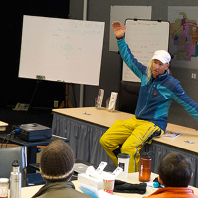 Glen Plake tells the class about his avalanche on Manaslu in 2012