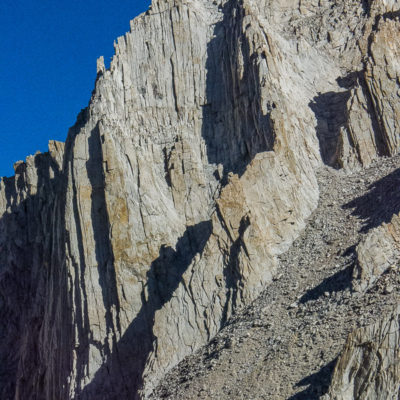 Fishhook Arete and Mithral Dihedral. Two routes that are easy to spot from a distance.