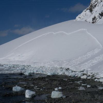 Avalanche in Antarctica.