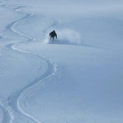 Powder skiing in British Columbia.