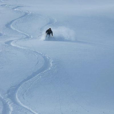 Powder skiing in British Columbia.