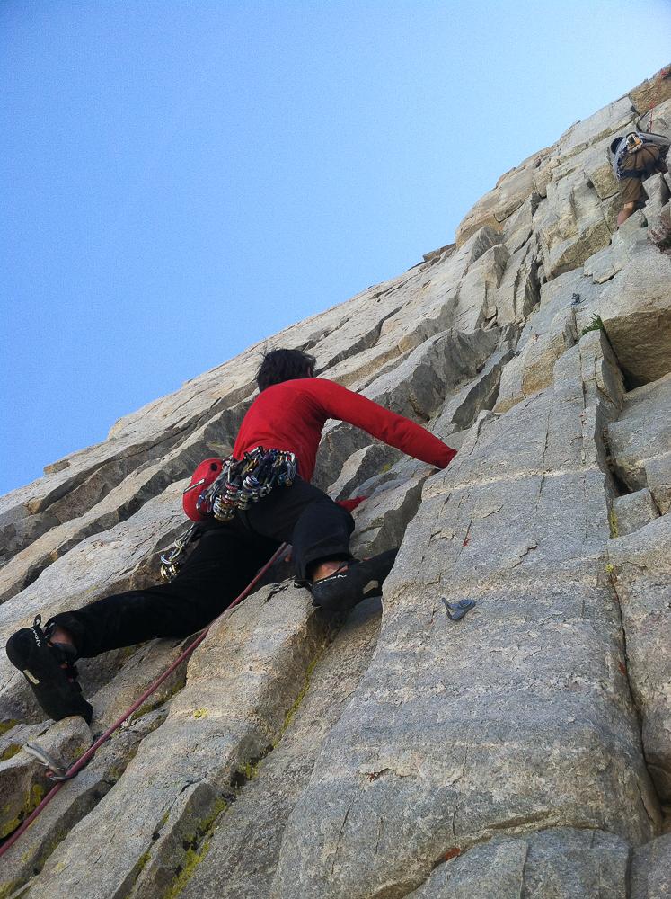 Croft climbing cracks in Patricia Bowl, Rock Creek.