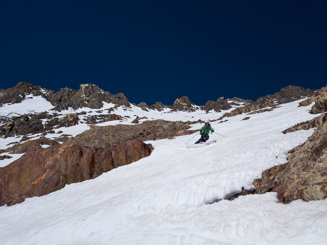Beautiful corn skiing on Red and White Mountain SE Face