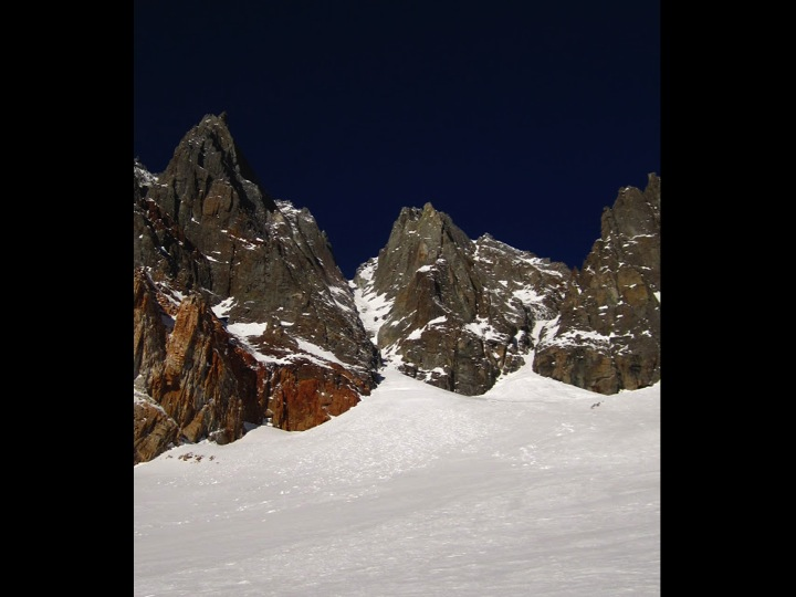Looking up from the bottom of the Northeast Couloir
