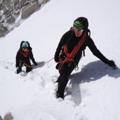 Perfect cramponing in the Mountaineers Route.