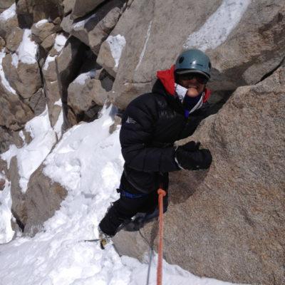 Winter rock climbing