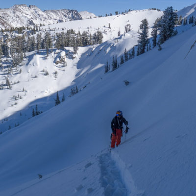 Powder hunting in the Mammoth Crest, Red Cone behind