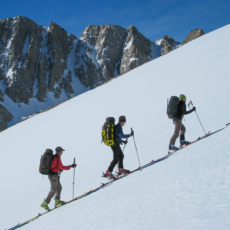 Skinning up toward Peak 13, 121