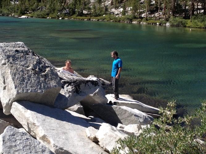 Post climbing alpine lake swim.