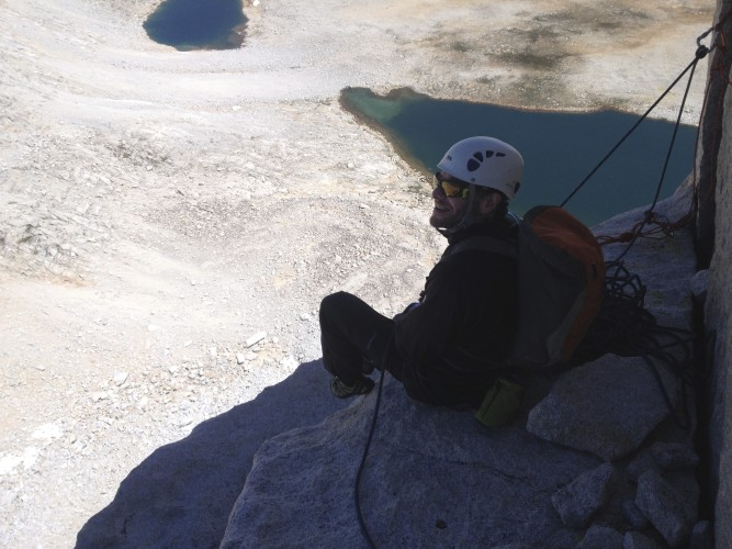 The view of the Royce Lakes at the top of the crux pitch.