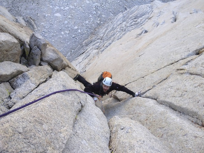 John B. working the crux on the Red Dihedral pitch.
