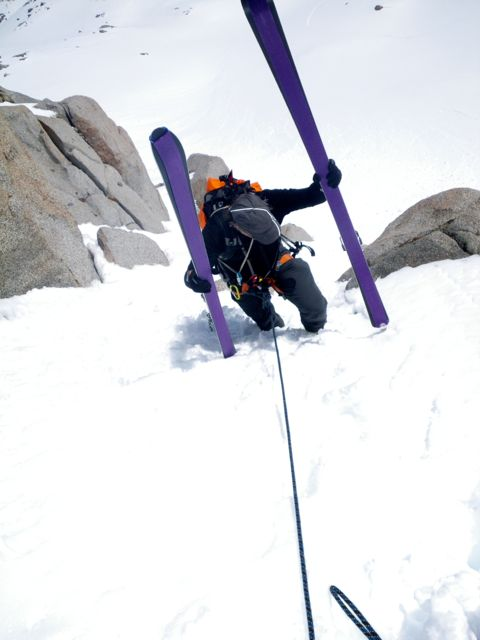 Sometimes skiing requires rope handling skill.