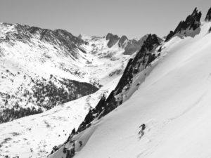 SMG lead guide Howie Schwartz on the East Face of Virginia Peak. photo: Jimmy Barnes